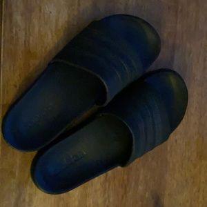 Unisex Adidas Adilette Black Slides -Men's  Sz. 7; Ladies Sz. 9